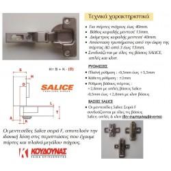 Μεντεσές SALICE Φ40 γόνατο