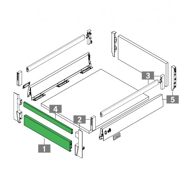 Μετώπη για εσωτερικό συρτάρι με ντίζες GRASS DWD XP stone
