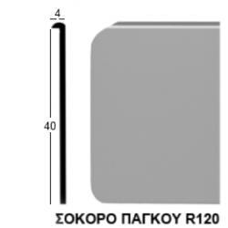 Σόκορο πάγκου αλουμινίου χωρίς τρύπες 4cm