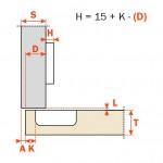 Μεντεσές SALICE push 110° ίσιος